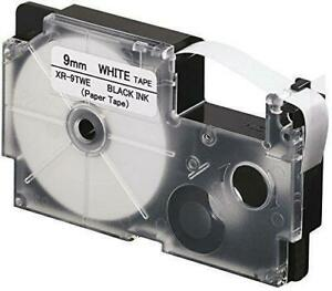 Weekly Promo! Casio XR-9WE Label Tape, 9mm, Black On White,  Compatible