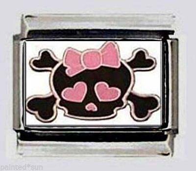 Skull Bones Girl Pink Bow Italian Photo 9mm Charm for modular LINK bracelets