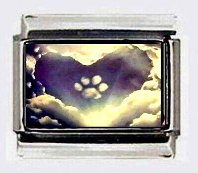 PAW PRINT HEART shaped CLOUD Italian photo 9mm Charms for modular link bracelets Shape Italian Charm