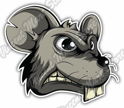Angry Mouse Head Rat Mice Funny Cartoon Car Bumper Vinyl Sticker Decal 5