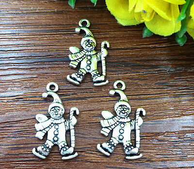 8pcs Christmas snowman Tibetan Silver Bead charms Pendants DIY jewelry 23x12mm@3