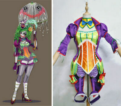 DC The Joker Female Genderbent circus Steampunk style Dress Cosplay costume