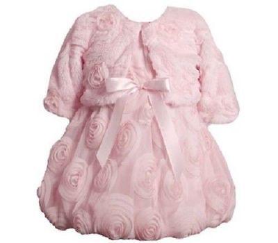 Bonnie Jean Girls Pink Mesh Bonaz Christmas Dress Fur Jacket 18M 24M 5 6 6X