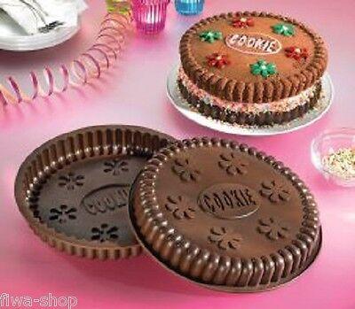 2 tlg. Set Silikon Backform Keks Motiv Riesen Jumbo Cookie rund Motivform