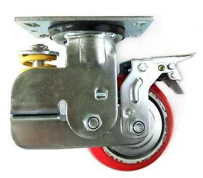6 Inch Caster Wheel 661 Pounds Swivel And Upper Brake Polyurethane And Cast I