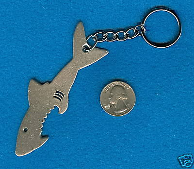 REMEMBER JAWS FISH OCEAN JEWELRY 1 SHARK PEWTER KEYCHAIN ALL NEW.