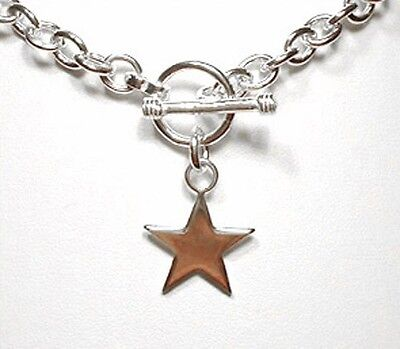 (Star Charm Toggle Link Solid Sterling Silver Necklace 16