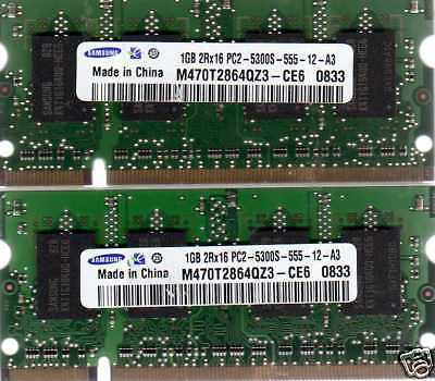 Dell 1 Gb Memory Upgrades - 2GB 2x1GB Kit Dell Inspiron 1300 1501 9400 640m 6400 DDR2 Laptop/Notebook Memory