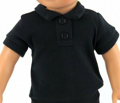 "Lovvbugg Black Polo T Shirt 2-Button for 18"" American Girl or Boy Doll Clothes"