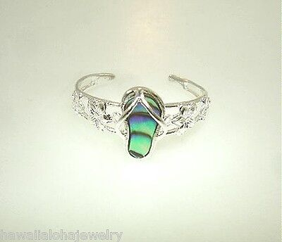 6mm Hawaiian Sterling Silver Openwork Abalone Slipper and Plumeria Toe Ring