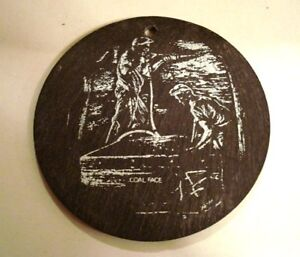 Vintage Welsh Natural Slate ORNAMENT Wall Hanging COAL FACE Miner Design Coaster