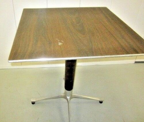 MID CENTURY PEDESTAL TABLE BY OSWALD HAERDTL ALUMINUM and WOOD