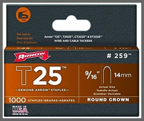 "T25 259 9/16"" Round Crown Steel Staples 1000/Pk Arrow Fastener"
