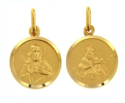 18K YELLOW GOLD SCAPULAR OUR LADY OF MOUNT CARMEL SACRED HEART MEDAL ITALY - 18k Gold Medal