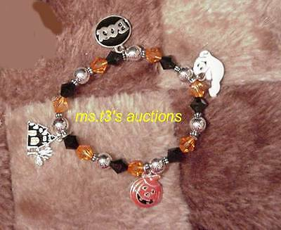 Halloween Charm Bracelet Ghost, Pumpkin, Haunted House & boo Jewelry