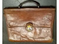 VINTAGE TEXIER FRENCH TAN LEATHER BRIEFCASE