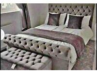 Superkingsize plush velvet bed frame