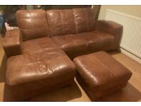 DFS leather corner sofa and footstool