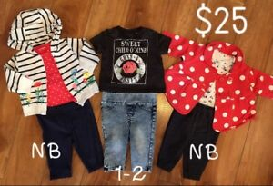 Three Newborn girl outfits