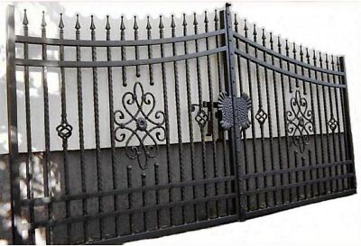 Quality wrought iron, bespoke driveway double swing gate - hammered, any size