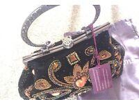 Brand new black velvet evening bag