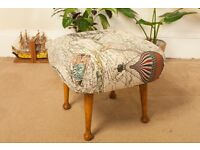 1960's Mid Century Re-Upholstered Stool/ Foot Stool