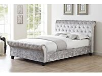 Silver crushed velvet king size bed frame and mattress