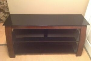 Craftsman style wood entertainment TV stand