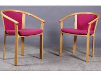 Vintage retro Danish beech mid century pink wool wooden armchair chair Magnus Olesen