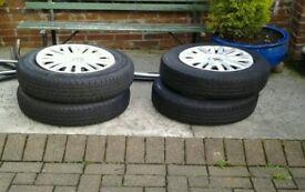 Four volkswagan golf wheels