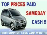CARS VANS CARAVANS MOTORHOMES ETC WANTED FOR CASH 07514959616
