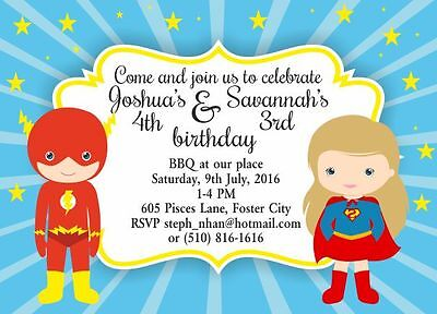10 x Personalised Joint Birthday Party Invitations or Thank you Cards - Cheap Party Invitations
