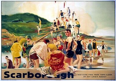 Vintage Railway Advertising  rail travel poster  A4 RE PRINT Scarborough Bathing