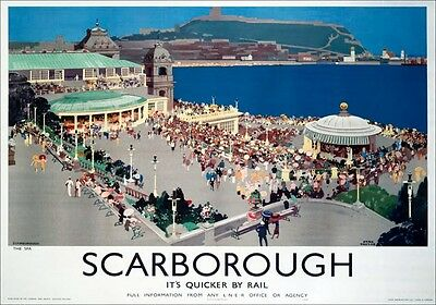 Vintage Railway Advertising  rail travel poster  A4 RE PRINT Scarborough Spa
