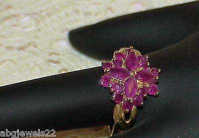 Antique 10K 1.00ct Ruby Marquise Ring Cluster Size 10 Yellow Gold Fabulous