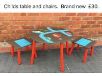 Childs table and chair.