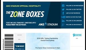 NRL Grand Final 4x zone box tickets Chiswick Canada Bay Area Preview