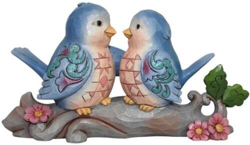 Jim Shore Heartwood Creek PAIR OF BLUE LOVEBIRDS ON BRANCH Figurine NIB