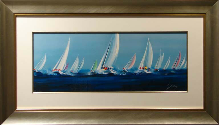 Victor Spahn Untitled Sailing blue framed HAND SIGNED FINE ART, SUBMIT OFFER