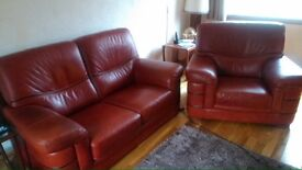 Two seater and chair Italian leather suite