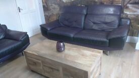 DFS 3 seater leather sofa & chair