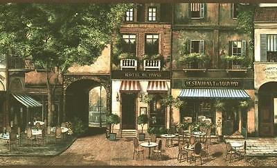 Wallpaper Border Paris Street Scene French Cafe