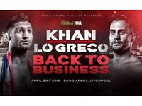 Amir Khan Vs Phil Lo Greco Tickets for sale!!