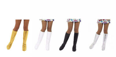 Womens GoGo Boot Covers 60s 70 Black White Silver Gold Shoe Cover Tops Knee High](White Boot Covers)