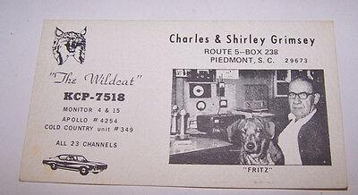 Vintage QSL CARD Charles & Shirley Grimsey PIEDMONT SC SOUTH CAROLINA