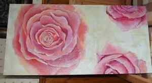 Painting on canvas - Tableau - Fleurs - Rose (19x39)