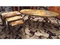 Vintage set of Onyx Marble Tables
