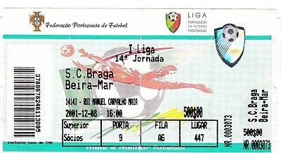 Ticket - SC Braga v Beira-Mar 2001/2