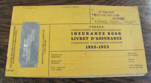 Livret D'Assurance-Chomage 1952-1953 Unemployment Insurance Book