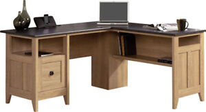 L-Shape Oak Finish Corner Desk